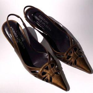 Donald J. Pliner Couture Gold Slingback Heels Sz 5
